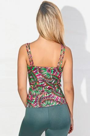 Camiseta Estampada Hanna (Cinza com Rosa Laranja e Verde) | Ref: KS-F240-001