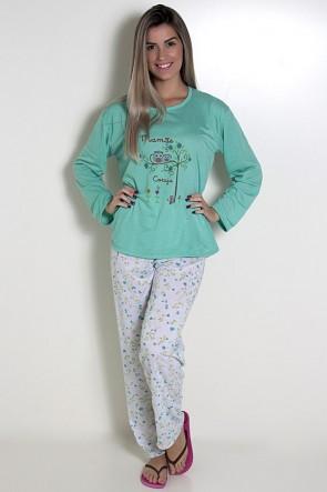 Pijama feminino longo 248 (Verde com corujinhas)