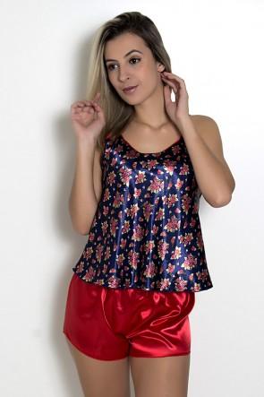 Babydoll Feminino 001 (Floral azul com vermelho)