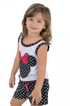 Baby-doll de malha infantil 131 (Preto) | Ref.: CEZ-PA131-002