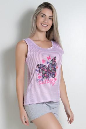 Babydoll Feminino 261 (Rosa com borboleta) | Ref: CEZ-PA261-001