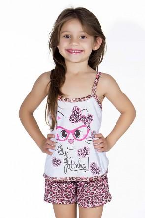 Babydoll Infantil 201 (Pink com oncinha)