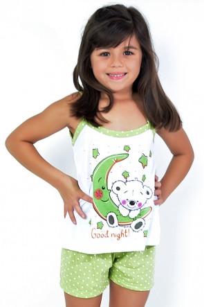 Babydoll Infantil 268 (Verde com poá branco)