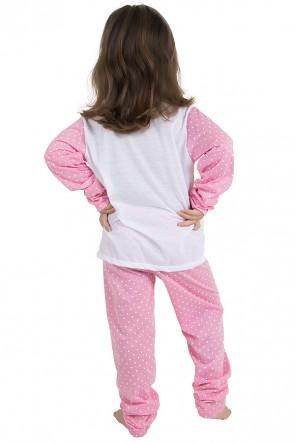 Pijama longo de Malha Infantil 108 (Rosa com poá branco) | Ref: CEZ-PA108-003