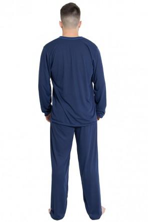 Pijama Mas. Longo 080 (Azul Marinho) | Ref: CEZ- PA080-001