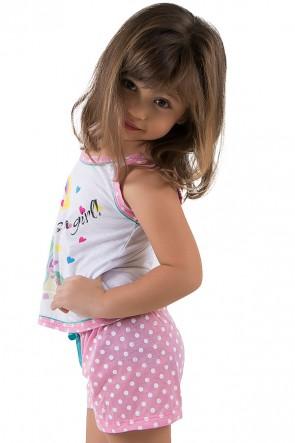 Baby-doll de malha infantil 174 (Rosa Unicórnio) | Ref.: CEZ-PA174-001