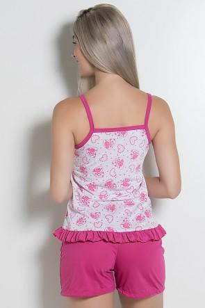 Babydoll feminino 065 (Pink com corações) CEZ-PA065-004