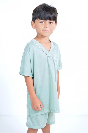 Pijama infantil mas. Curto 037 (Verde)
