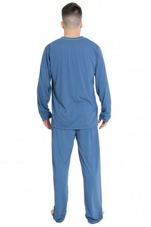 Pijama Mas. Longo 080 (Azul Acinzentado)   Ref: CEZ-PA080-002