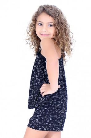 Babydoll de Liganete Infantil 020 (Preto com corações)
