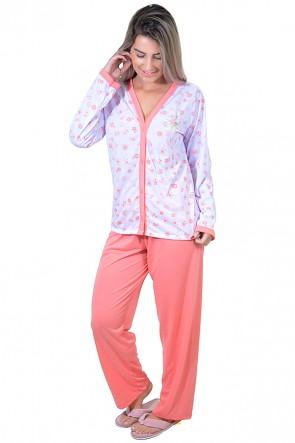 Pijama feminino longo 182 (Salmão) AB