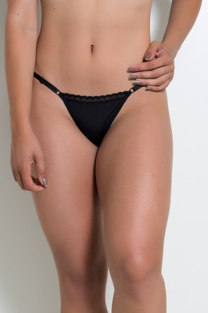Calcinha Com Renda e Regulagem Lateral CLR001 (Preto) | Ref: KS-A199-003