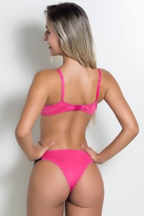 Conjunto Franzido com Renda 355 (Rosa Pink / Preto) | Ref: KS-B106-003