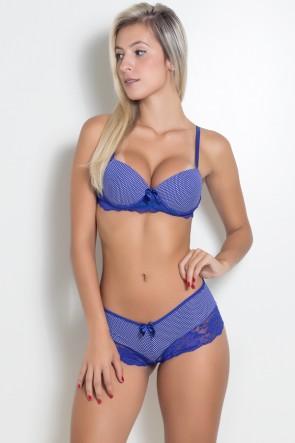 Conjunto com Renda e Bolinhas 060 (Azul Royal com Bolinhas Brancas) | Ref: KS-B192-002