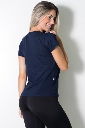 Camiseta Feminina (The Gym is my Happy Place) (Azul Marinho) | Ref: BES002-003