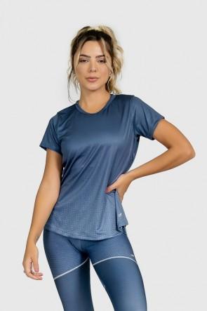 Blusa Fitness Manguinha Estampa Digital Deep Blue | Ref: GO301