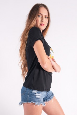 Blusa Nózinho com Silk Caveira Fashion (Preto) | Ref: K2832-A