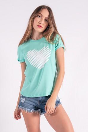 Blusa Nózinho com Silk Coração de Linhas (Verde Água)   Ref: K2843-H