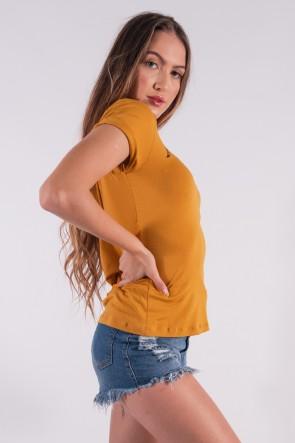 Blusa Nózinho com Silk Fases Da Lua (Mostarda) | Ref: K2837-G