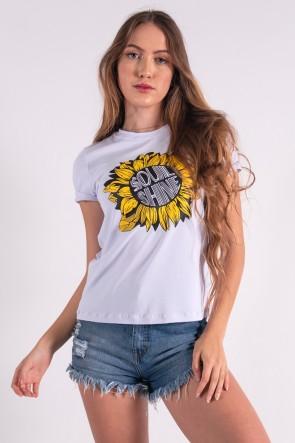 Blusa Nózinho com Silk Girassol Soul Shine (Branco) | Ref: K2836-B