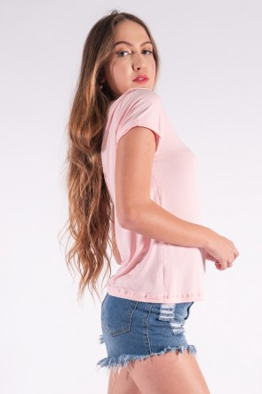 Blusa Nózinho com Silk Penas de Índio (Rosa bebê) | Ref: K2838-D