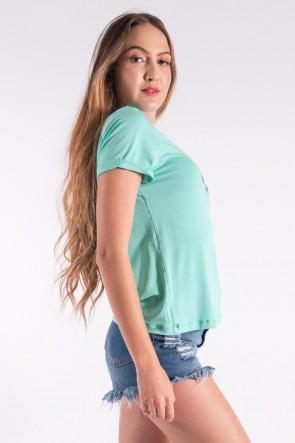 Blusa Nózinho com Silk Penas de Índio (Verde Água) | Ref: K2838-H