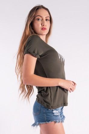 Blusa Nózinho com Silk Penas de Índio (Verde Militar) | Ref: K2838-I