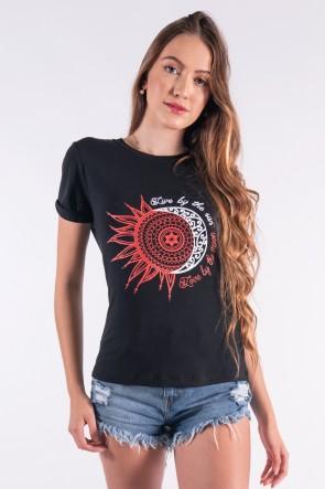 Blusa Nózinho com Silk Sol e Lua (Preto) | Ref: K2841-A