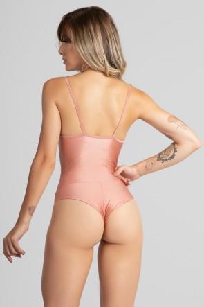 Body de Alcinha Tecido Platinado (Rosê) | Ref: GO533-B