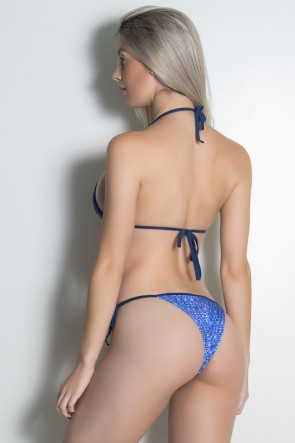 Biquini Cortininha Sublimada (Mosaico Violeta e Azul / Azul Marinho) | Ref: KS-BQ101-002