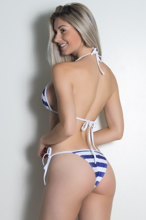 Biquini Cortininha Sublimada (Listrado Azul Marinho e Branco / Branco) | Ref: KS-BQ101-003
