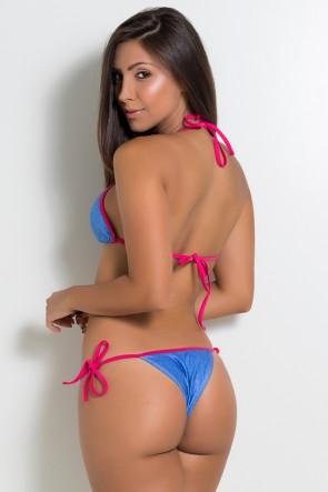 Biquini Jeans com Viés Rosa Pink | Ref: KS-BQ68-001