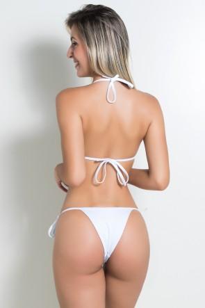 Biquini Liso Cortininha de Amarrar (Branco) | Ref: KS-BQ95-001