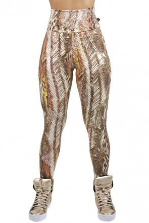 Legging Estampada Penas Bege e Marrom | Ref: CA494