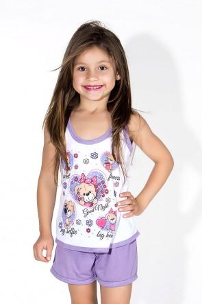 Babydoll Infantil 056 (Lilas com cachorrinhos) AB