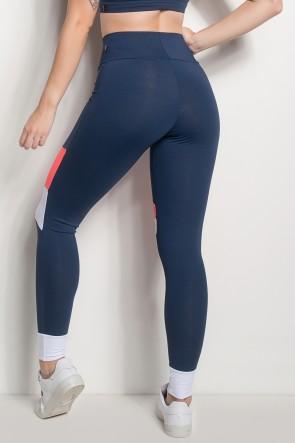Calça 3 Cores Com Detalhe No Tornozelo (Azul Marinho / Laranja / Branco) | Ref: CAL427-003/010/002