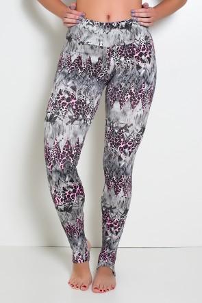 Calça Legging Estampada com Pezinho (Cinza com Oncinha Rosa) | Ref: KS-F192-007