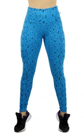 Calça Legging Cós Alto Tecido Jacquard (Azul com Pingos Pretos) | Ref: F546