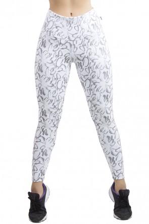 Calça Legging Cós Alto Tecido Jacquard (Branco com Borboleta Preta) | Ref: F560