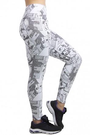 Calça Legging Cós Alto Tecido Jacquard | Ref: F558