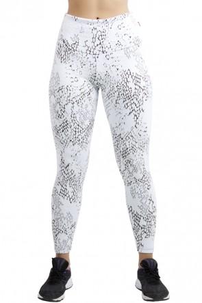 Calça Legging Cós Alto Tecido Jacquard (Branco com Nuvens) | Ref: F563