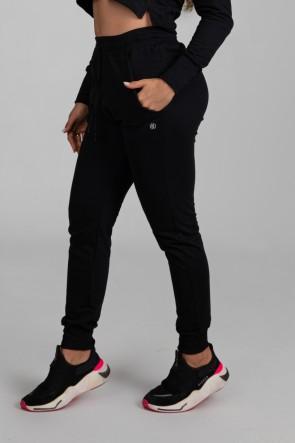Calça Jogger Lisa de Moletom (Preto) | Ref: K2897-A