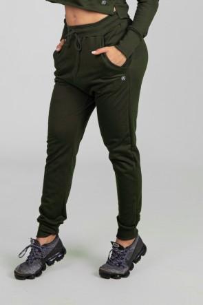 Calça Jogger Lisa de Moletom (Verde Militar) | Ref: K2897-E