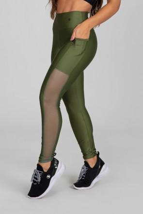 Calça Legging com Bolso e Faixa de Tule (Verde Militar) | Ref: K2873-E