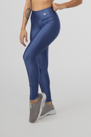 Calça Legging Tecido Platinado com Cós Triangular (Azul) | Ref: GO530-E