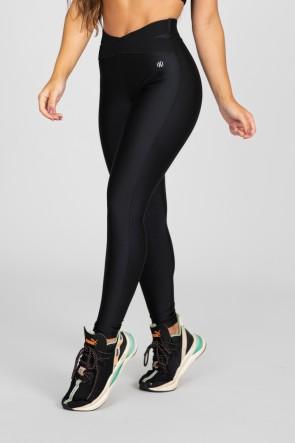 Calça Legging com Elástico em X (Preto)   Ref: K2875-A