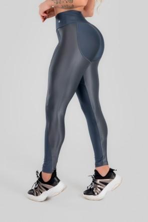 Calça Legging com Recorte de Cirrê Bumbum Up (Chumbo) | Ref: K2947-B