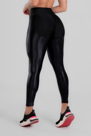 Calça Legging com Recorte de Cirrê Bumbum Up (Preto) | Ref: K2947-A