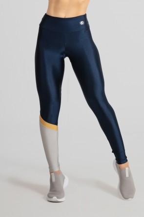 Calça Legging com Recorte Diagonal em uma Perna (Azul Marinho / Prata / Ouro) | Ref: GO474-C