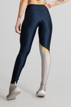 Calça Legging Tecido Platinado com Recorte Diagonal em uma Perna (Azul Marinho / Prata / Ouro) | Ref: GO474-C
